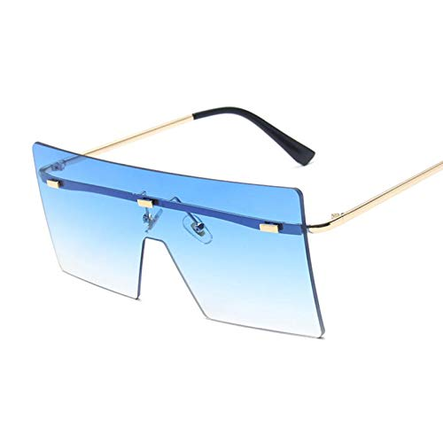 Hanpiyignstyj Gafas De Sol, Gafas de Sol cuadradas de Gran tamaño Señoras de Moda Plana Plana Rosa Negro Lente Transparente de una Pieza de Espejo de una Pieza (Lenses Color : Double Blue)