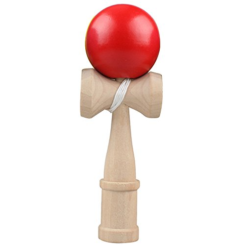 Habilidad de madera tradicional japonesa bola Kendama captura bola juego Juguete del Kendama Juego Japonés Bola de Madera Rojo Rojo