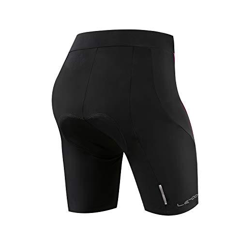 Letook Pantalones Ciclismo Mujer Cortos, Pantalon Corto de Bicicleta Gel Acolchado Profesional Verano Primavera Línea Rosa XXL