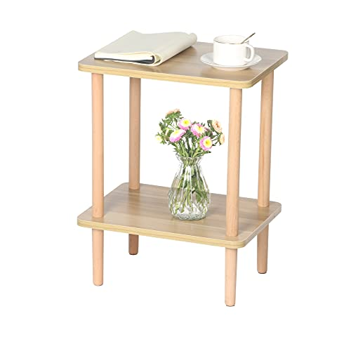 EXILOT 2-Tier Side Table Tall End Table with Storage Rack Wooden Nightstand Bedside Table for Living Room Bedroom Office No-Tool Assembly Light Walnut