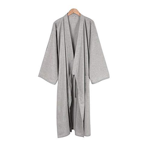 Kimono japonés Hombres Largo Yukata algodón Pijamas Batas Falda Vestido, B05