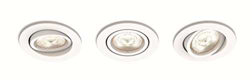Philips 5020331P0 A++ to A, myLiving LED Einbauspot Shellbark Rund Warmglow, 3 x 500 lm, Plastik, 4.5 W, Integriert, weiß, 9 x 9 x 5 cm