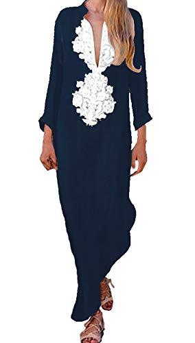 Taigood Vintage dames V-hals lange mouwen etnic print maxi jurk lange jurk mode dames linnen maxi-jurk split zoom baggy kaftan maxi-jurk