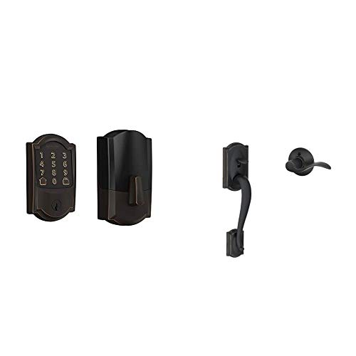 Schlage Lock Company BE489WB CAM 716 Schlage Encode Smart WiFi Deadbolt with Camelot Trim in Aged Bronze, Lock & Lock Company Camelot Front Entry Handle Accent Left-Handed Interior Lever