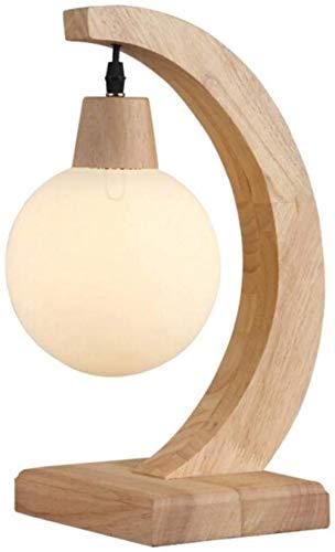 Leeslamp New Wood Art Crescent Table Lamp Horn Image Tand massief hout Ronde glazen kap Led tafellamp