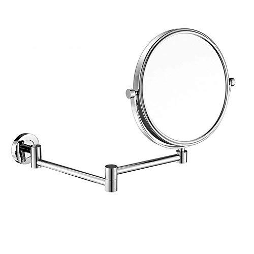 JOSN 8 Zoll Zweiseitig Schminkspiegel 5XVergrößerung Kosmetikspiegel Wandmontage Bad Spiegel Ausziehbare Armlänge verchromt ohne Beleuchtung
