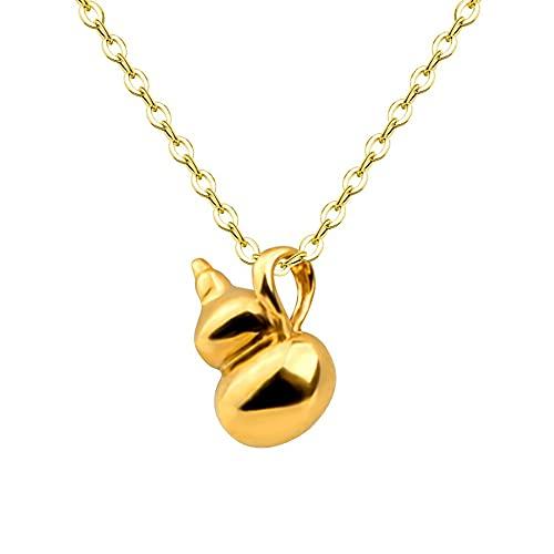 JIUXIAO Cadena de Collar de Oro Au750 de 18 K, Calabaza Encantadora para Mujer, Regalo de joyería Fina de Fiesta, Colgante de Oro Amarillo de 24 K 999 X531
