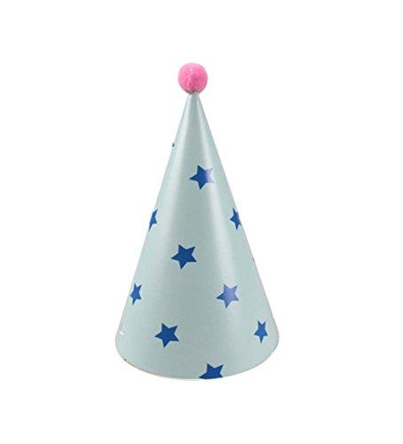 Fournitures 7Pcs d'anniversaire d'enfants Hat Party Blue Star Party Hat