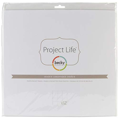 Becky Higgins 380004 Project Life Photo Pocket Page Protector-12 x Design A (12 Piece), Clear