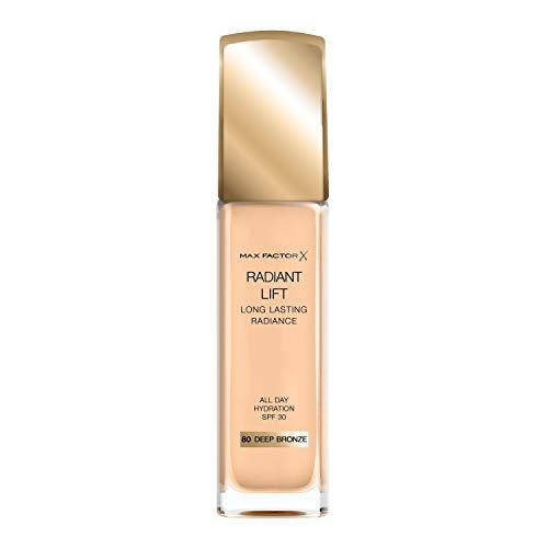 Max Factor Radiant Lift Foundation in 80 Deep Bronze – Cremig weiches Make-up für ein atemberaubendes Finish – Für ein strahlendes Aussehen