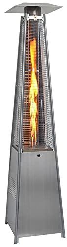 48000 BTU Outdoor Propane Patio Heater, Pyramid Flame Outdoor Heater Quartz Glass Tube Heater Gas Patio Heaters with Wheels Commercial Outdoor Heater Stove for Patio, Balcony,Veranda Silver