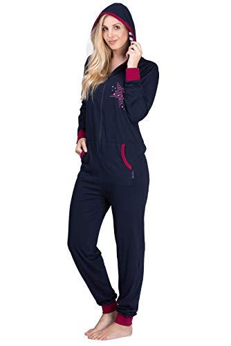 maluuna - Damen Jumpsuit, Onesie, Overall, Einteiler mit Bündchen an Arm- und Beinabschluss aus 100% Baumwolle, Farbe:Navy, Größe:36-38