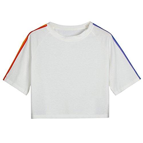MRULIC Damen Frauen-Kurzschluss-Hülsen-Regenbogen druckte zufälliges T-Shirt O-Ansatz-Weste-Oberseiten-Bluse(Weiß,EU-42/CN-L)