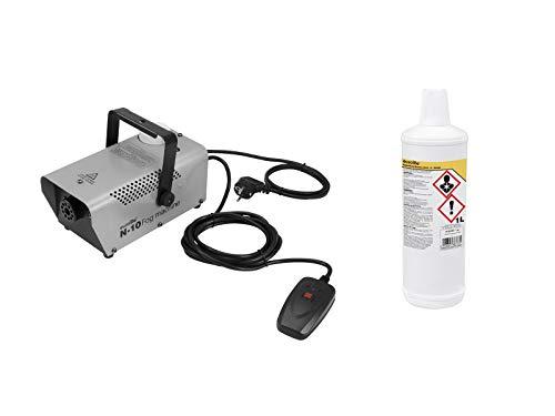 Eurolite Set N-10 Nebelmaschine in silber + -B- Basic Nebelfluid 1 Liter | Qualitäts Nebelflüssigkeit aus Deutschland