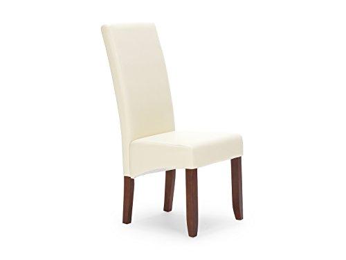 massivum Essziimmer-Stuhl Montreal 47x107x63 cm mit Kunstleder-Bezug creme und Gestell aus Massiv-Holz Pinie braun lackiert Polstestuhl
