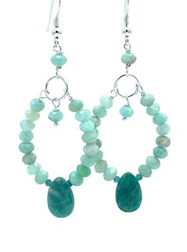Pendientes de amazonita turquesa y apatita azul, plata 925, joyas artesanales de piedras naturales, chakra de la garganta, regalo para mujer