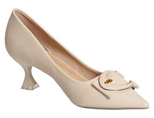 C.PARAVANO Damen Schuhe Ballerinas Pumps aus elegant glänzendem Lackleder mit Bequeme Geschlossene Spitze Sandalen mit Schnalle Hoch Absatz Pumps (GRÖSSE 39, Weiss 5.5CM)
