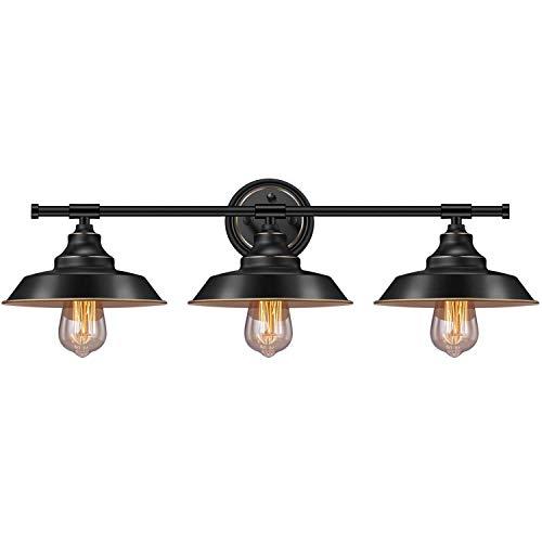 YLLN Badezimmerspiegellampe Schwarze Wandleuchte Industriemetall Lampenschirm Bad Wandleuchte Innen 3-Lichter E27 Spiegelleuchten für Badezimmer, Waschtisch, Cafe