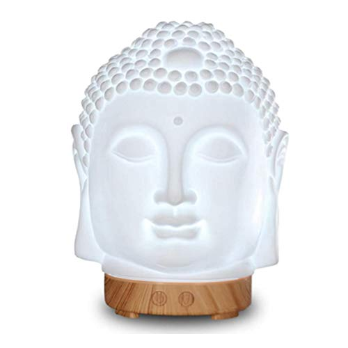 DBGA Buddha Head Essential Oil Diffuser, Buddha Essential Oil Aroma Diffuser, 100ml Diffuser, Ultrasonic Cool Mist Mini Humidifier, Waterless Auto Off, 7 Colors Changing Light