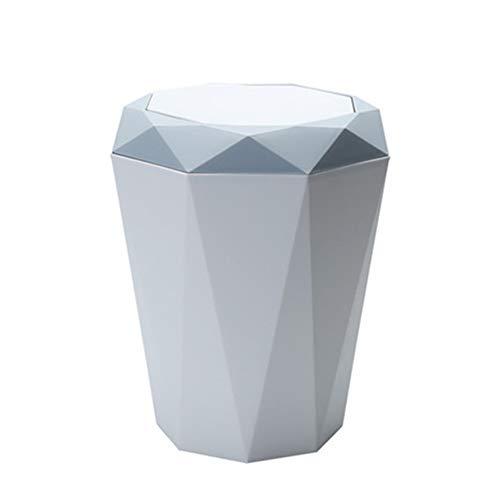 JUNGEN Cubo de Basura plastico con Diseño de Tapa Reversible Papelera de Redondo Bote de Basura para Hogar Cocina Baño Dormitorio Comedor Oficina Estilo nórdico (Azul S)