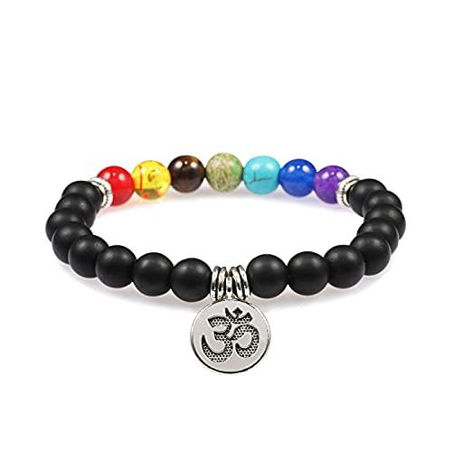 YITIANTIAN 7 Chakra Negro Piedra de Lava Natural con Cuentas Hombres Pulsera Buda Lotus Pedant Pulseras brazaletes Mujeres Yoga joyería Amistad Regalos