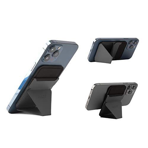 MOFT マグネットスマホスタンド iPhone 12シリーズ専用 MagSafe/MagSafe専用スマホケースに対応 カードケース機能 フロートタイプ角度調節 薄型軽量 折り畳み式 複合材質 内蔵磁石十六個 (グレー)