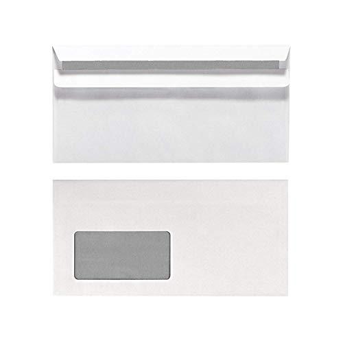 Herlitz Briefumschlag DIN Lang, Selbstklebend mit Fenster, 100 Stück mit Innendruck in Folienpackung, eingeschweißt, weiß