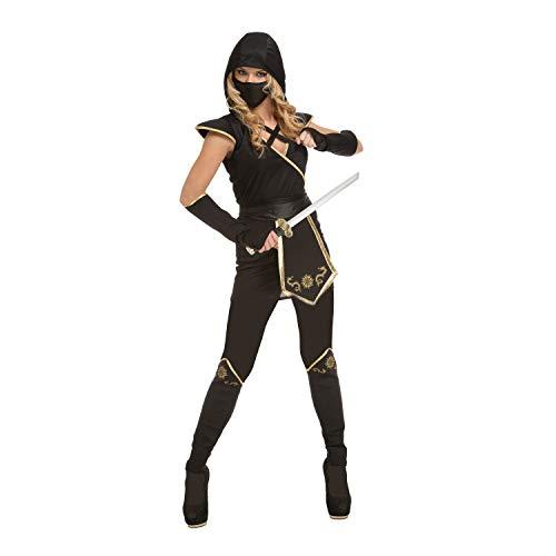 My Other Me Me-204896 Disfraz de ninja para mujer, color negro, M-L (Viving Costumes 204896)