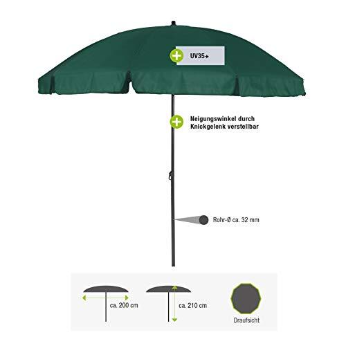 greemotion Sonnenschirm 3m mit UV-Schutz - Balkonschirm in Grün-Grau - Gartenschirm knickbar - Terrassenschirm rund - Outdoor-Schirm für Balkon, Terrasse & Garten