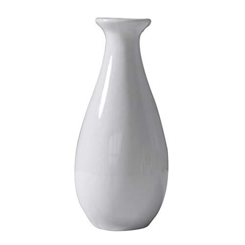 Cabilock Mini Jarrón de Cerámica Pequeño Florero de Cerámica Simple de Escritorio Botella Contenedor de Flores para La Decoración de La Oficina en El Hogar (Blanco)