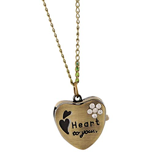 Viesky Taschenuhr Quarz Herzform Paar Anhänger Halskette Uhren Charm Geschenke Halsband Persönlichkeit Mode Antik Vintage Kette Bronze Pulloverdekoration