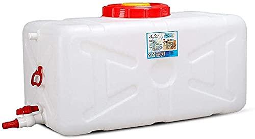 HIGHKAS Recipientes de Agua Cubo de plástico Rectangular portátil de Mayor Capacidad Horizontal para Camping Tanque de Almacenamiento de Agua Cuadrado Tanque de Agua Blanco con Tapa y Grifo 100L 200