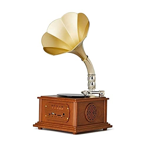 YAMMY Record players Retro, Phonograph Gramophone Record Player Music Dynamic Stereo Speaker, Mini Metal Retro Style Audio Cabl(Record players)