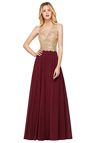 MisShow Ballkleid Abendkleid Lang Ärmellos Perlenstickerei Applique Chiffon Abschlusskleid, Bordeaux, 32