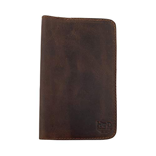 Rustic Leather Refillable Journal Cover for Moleskine Cahier Large (5 x 8.25 in.) w/ Típico Strap Handmade by Hide & Drink :: Bourbon Brown