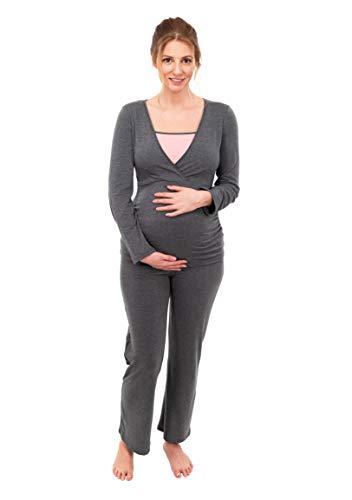 Herzmutter Stillpyjama-Umstandspyjama - Zweifarbiger Schlafanzug für Damen - Nachtwäsche für Schwangerschaft-Stillzeit - Pyjama-Set mit Stillfunktion - Lang-Langarm - 2700 (M, Grau/Rosa)