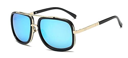 LOPIXUO Gafas de sol Nuevas gafas de sol cuadradas de gran tamaño Gafas de sol de moda para mujer Diseñador de tonos vintage, Azul