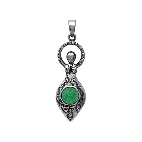 925 Sterling Silver Round Green Jade Stone Celtic Goddess Of Fertility Charm Oxidized Pendant