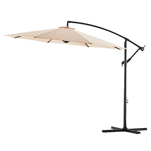 Bluu 10ft Patio Offset Umbrella Cantilever Umbrella Hanging Market Umbrella Outdoor Umbrellas with Crank & Cross Bases(Beige)