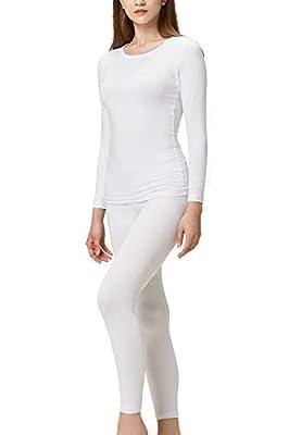 DEVOPS Women's Thermal Underwear Long Johns Top & Bottom Set (Medium, White)