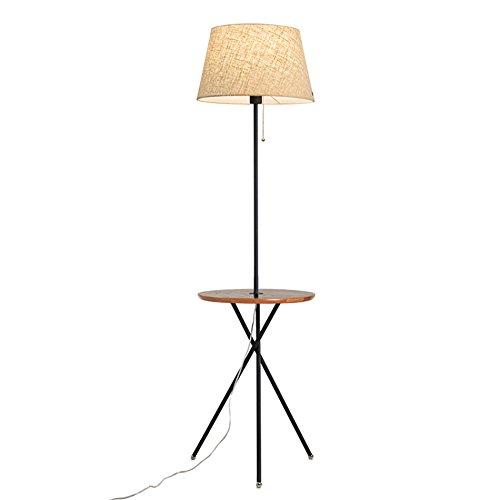Nieuwe eenvoudige moderne driedimensionale lamp slaapkamer vloerlamp, woonkamer ijzeren frame staande lamp houten bureau