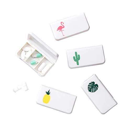 BESPORTBLE 5 Stücke 3 Grids Mini Quadrat Pill Box Tragbare Vitamin Pille Fall Medikation Halter Container für Reisen (Mischfarbe)