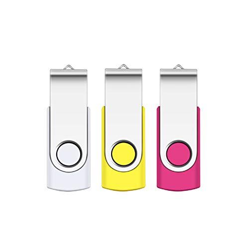 64GB 3.0 USB Stick, SRVR 3 Stück Speicherstick USB-Flash-Laufwerk Mehrfarbig Memory Stick Datenspeicher USB 3.0 mit Kappe LED Anzeige Schlüsselband