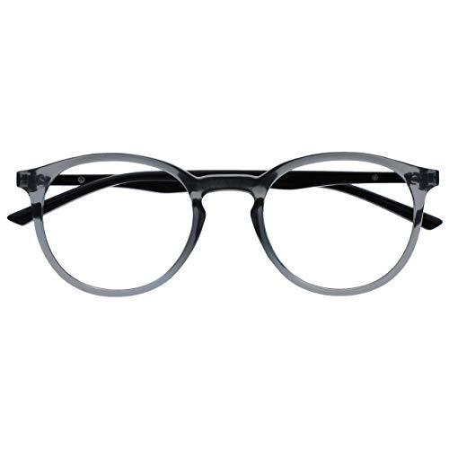 Opulize Met Occhiali Da Distanza Miope Miopia Grande Giro Grigio Nero Uomo Donna Cerniere Molla M60-7 -1,50