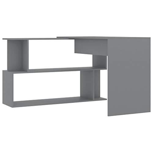 Lasamot Escritorio de Esquina Escritorio de computadora Combinación de ángulos Mesa Mueble Escritorio Mesa de Oficina Tablero aglomerado Gris 200x50x76 cm