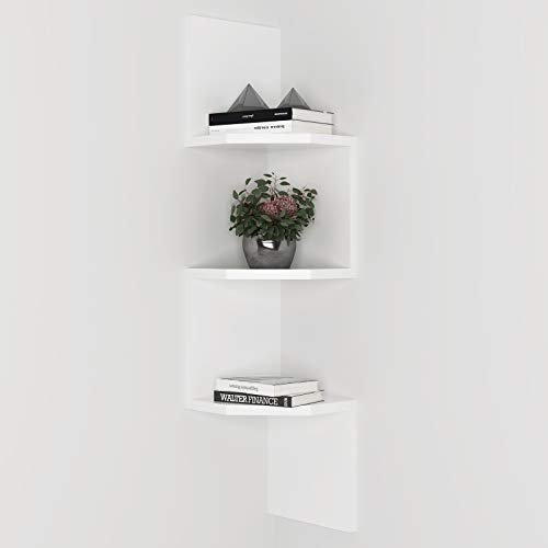Zig-Zag Corner Shelf3-Tier Wall Mounted Corner Decor and Display Floating Shelf for BedroomKitchenLiving Room BathroomWhite Storage Shelf for Small Plant Photo Frame Toys and More