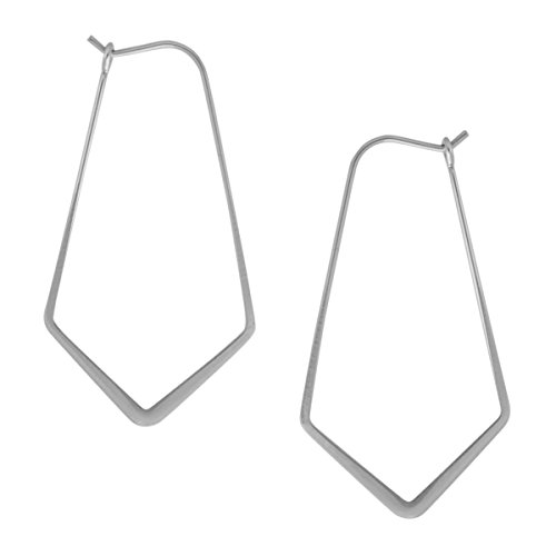 Geometric Chevron Threader Hoop Earrings - Lightweight Cutout Thin Wire Drop Dangles, 925 White - 1.5 inch, Sterling Silver-Electroplated, Hypoallergenic, by Humble Chic NY