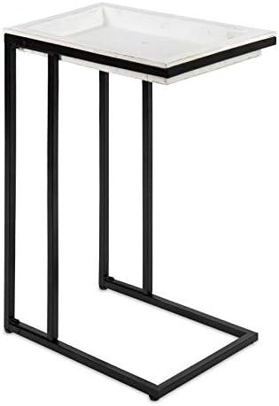 Best Kate and Laurel Lockridge Wood and Metal C-Table, 19x12x27, White