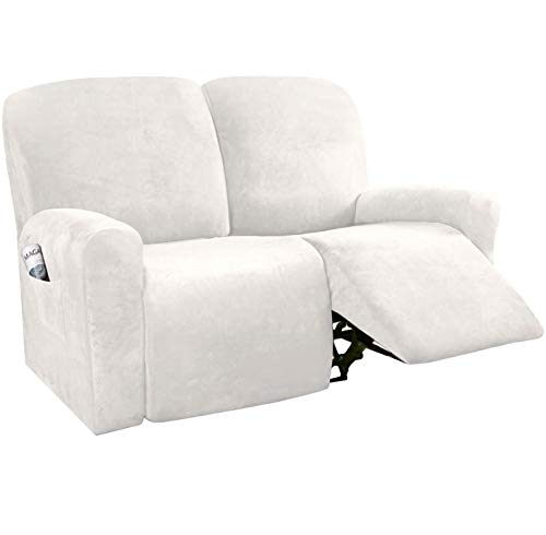 ADAFA Recliner Sofa Cover 2/3 Seater Thick Suede All-inclusive Chair Stretch Waterproof Non-slip Slipcover Dustproof Massage Sofa Seat Protector,Ivory,2 Seater