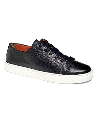 Anthony Veer Coolidge Tennis Men's Lace-up Luxury Italian Milled Leather Fashion Sneaker Comfort Lifestyle Streetwear (9.5 D US, Black)